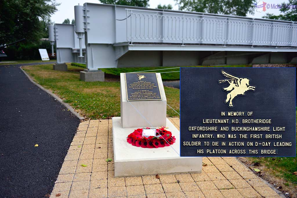 A plate memorial for Lieutenant H.D. Brotheridge who was the first person killed by Germans during D-Day.