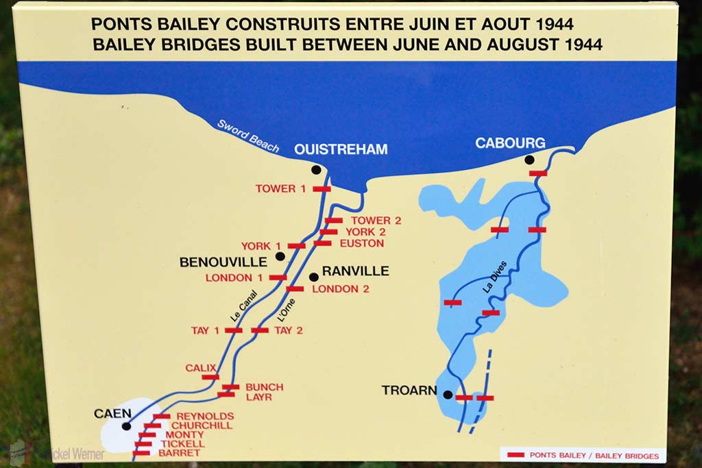 Map of all the Bailey Bridges in the Caen area
