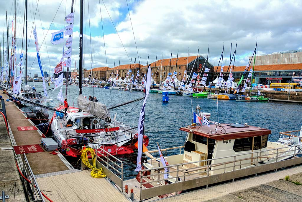 Transat Jacques Vabre sailboats and village