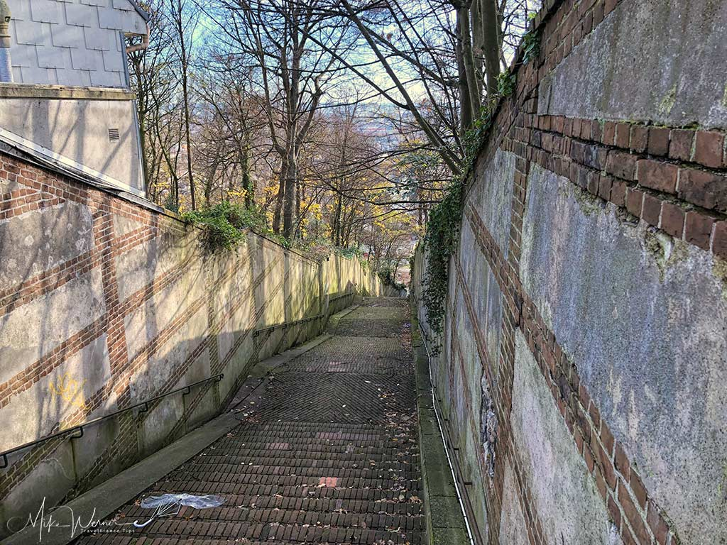 """The top end of the """"Escalier de Tourneville"""" that brings you from/to the ex-military fort into the city centre in Le Havre, Normandy"""