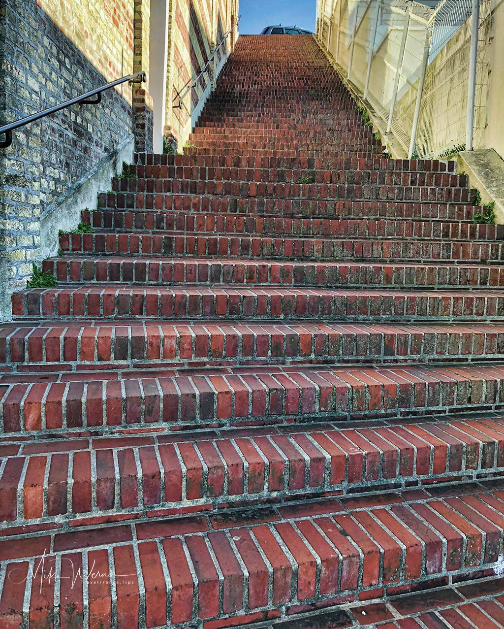 """The """"Escalier-de-la-Falaise"""" is a less busy stairway taken to go to the Le Havre beach area."""