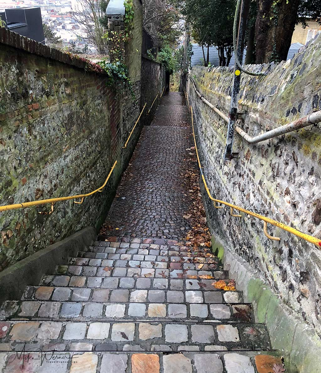 """The top end of the """"Rue du Petit Escalier"""" in Le Havre, Normandy"""