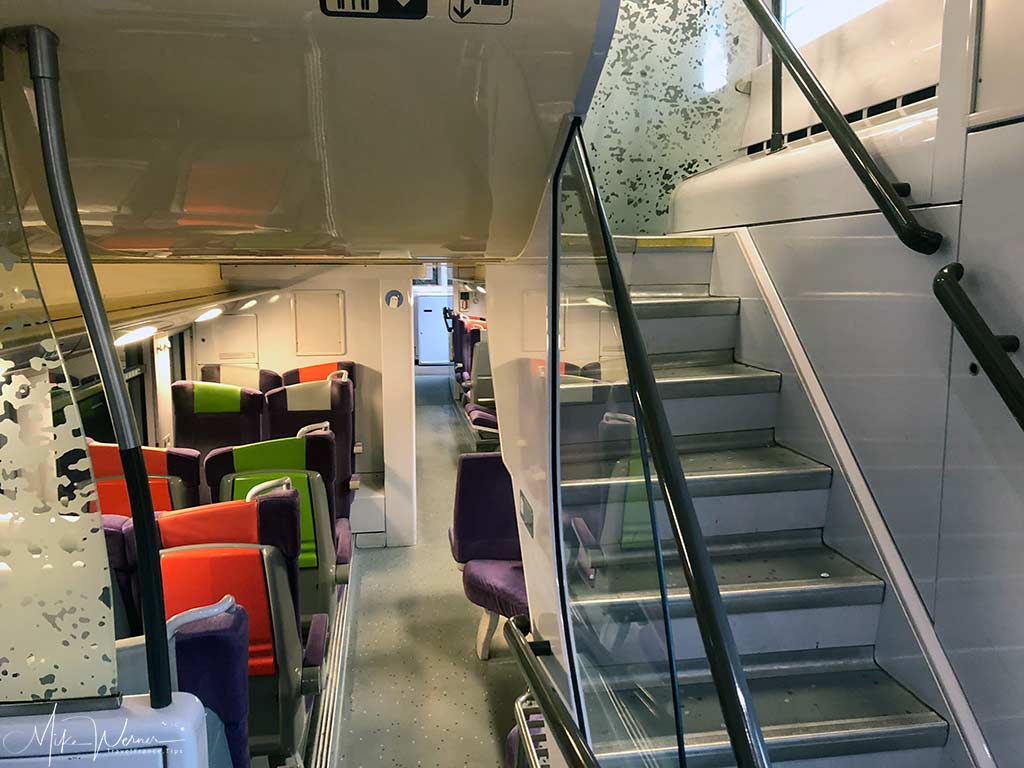 Stairs and Inside the Double Decker Modern Intercites train of the SNCF