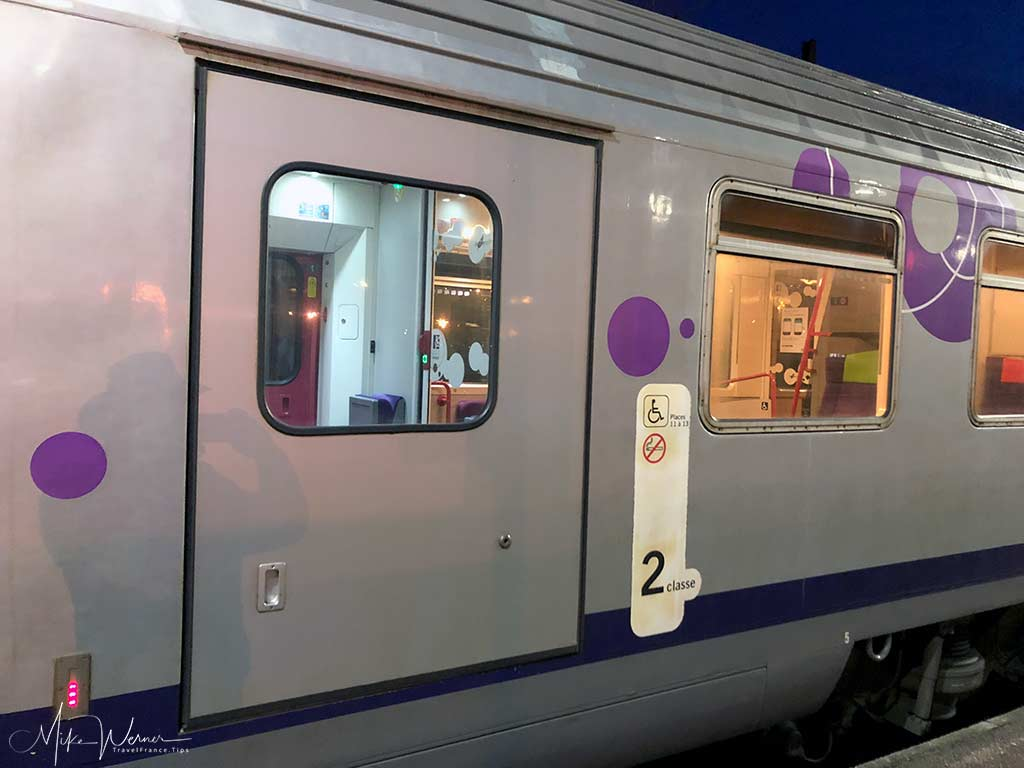 Wheelchair access door on Intercites train of the SNCF