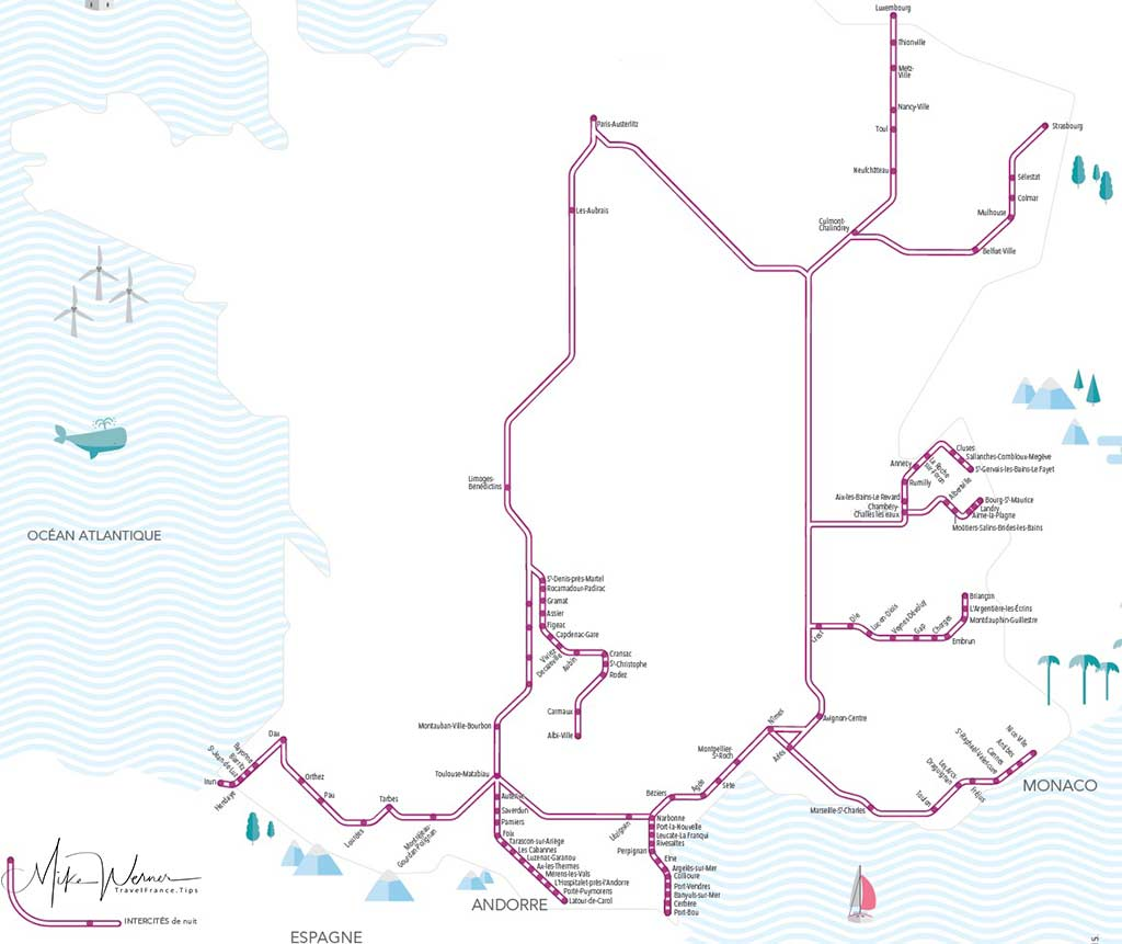 2018 Night Intercites Trains network