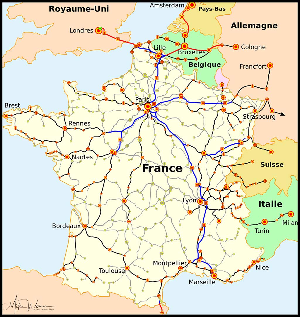 2018 Map of the TGV network in France and neighbouring countries