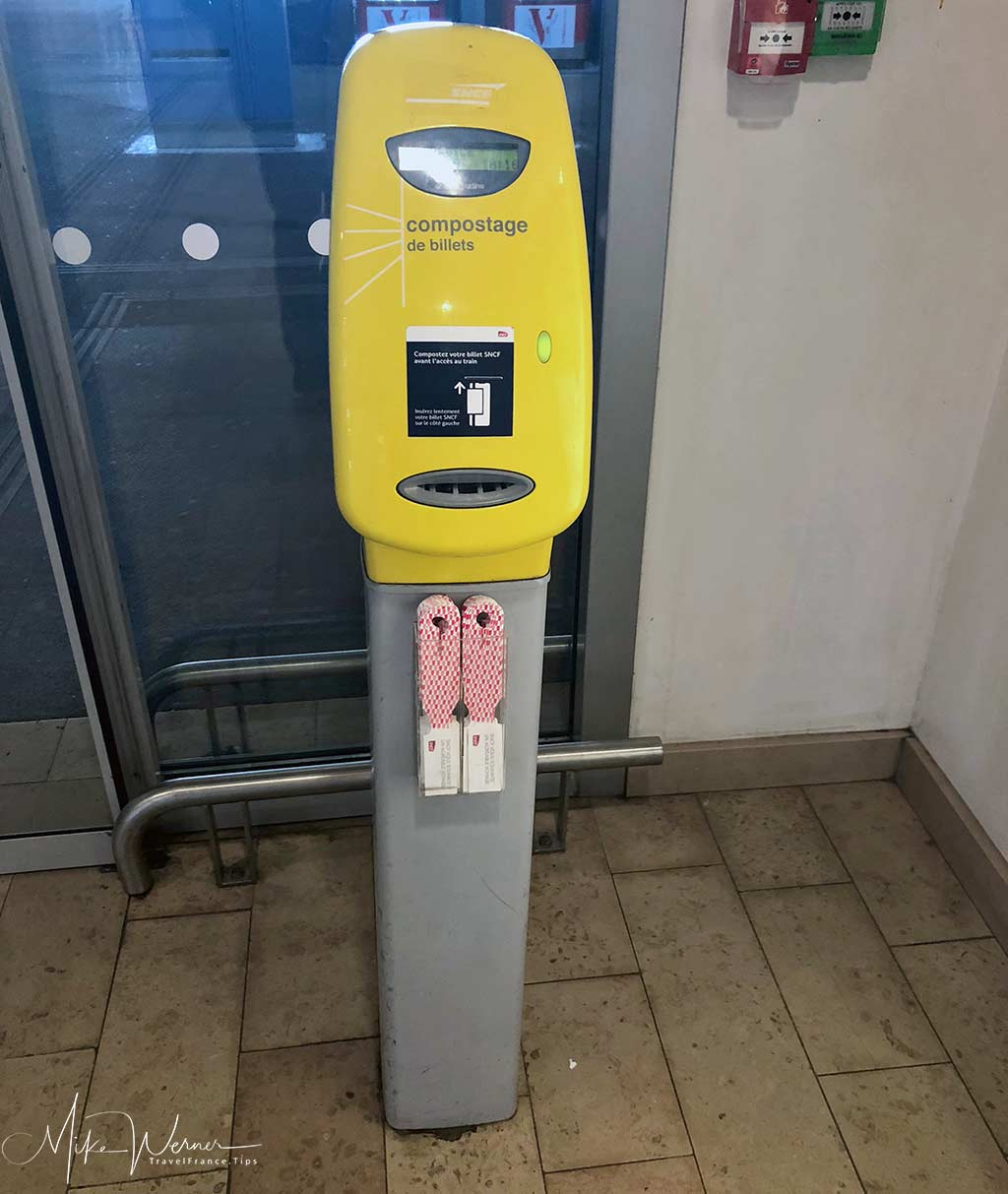Railroad station tickets validating machines