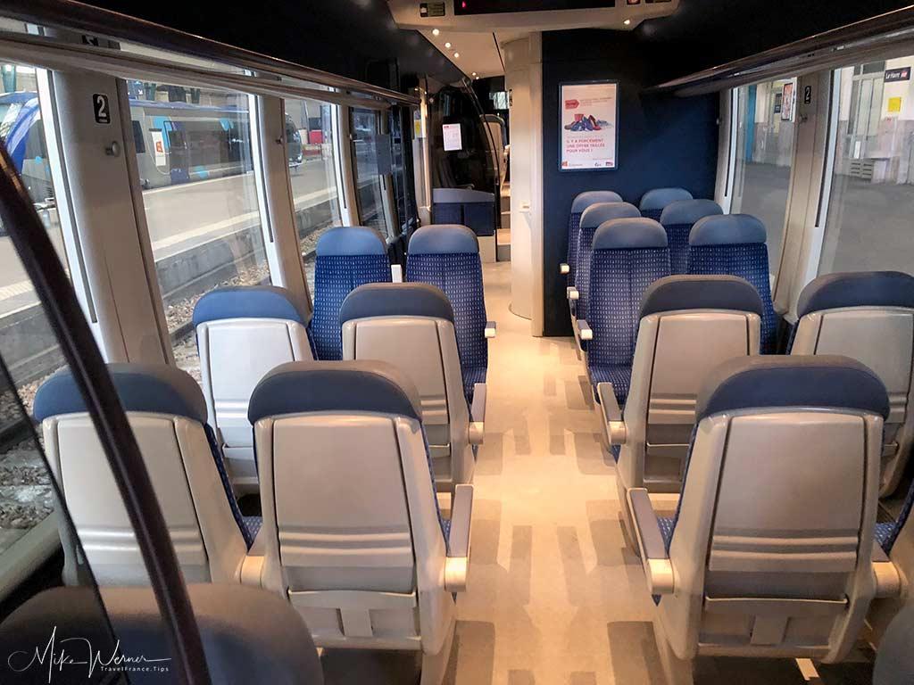Inside a modern regional TER train