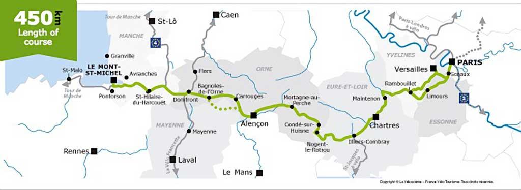 Bicycle map Paris to Mont St Michel