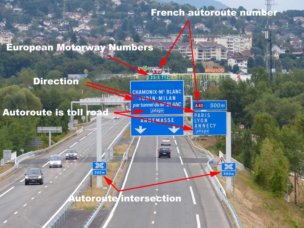 Autoroute peage and direction indicators