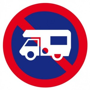 No camping cars parking allowed sign
