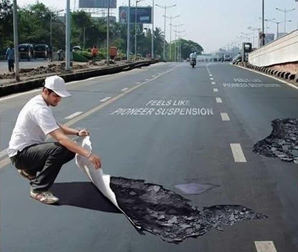 Potholes in roads