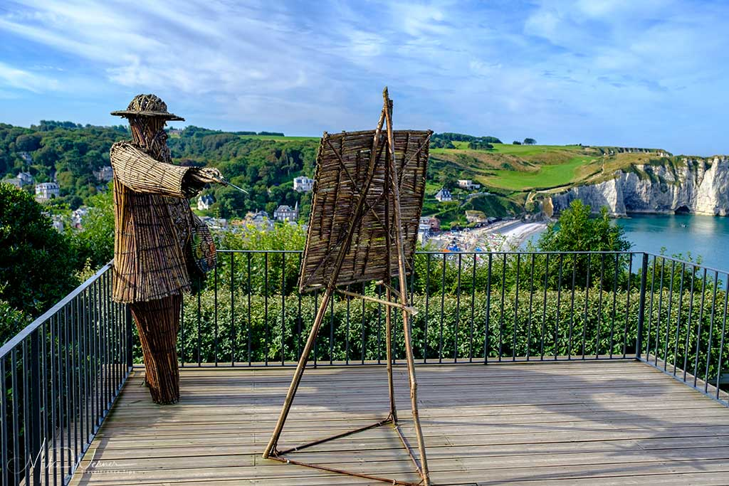 Straw figure representing Claude Money at the Gardens of Etretat