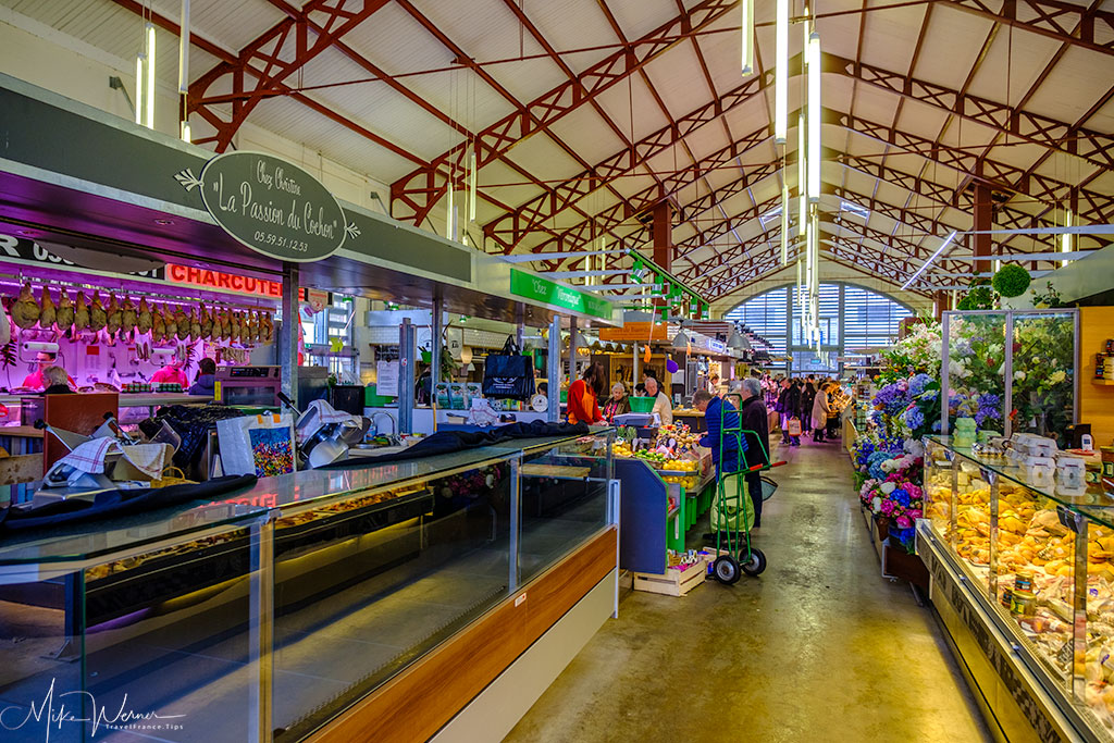Inside the covered food market of Biarritz