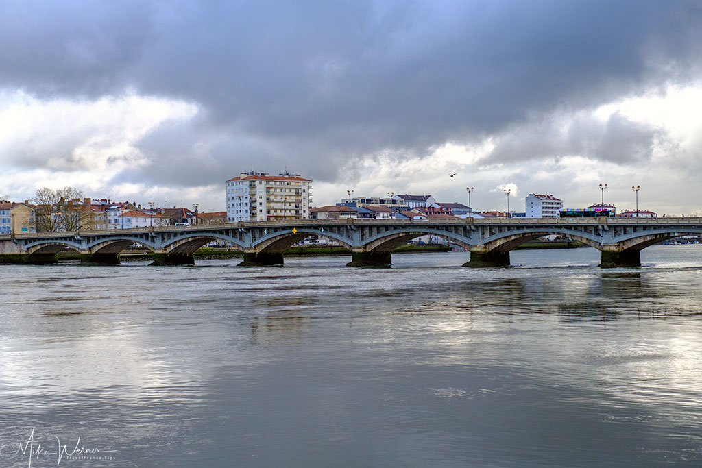 Adour river and its many bridges in Bayonne