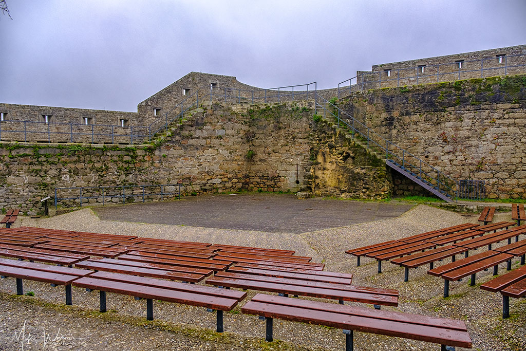 Sitting area in the open air theatre in the walled city of Concarneau