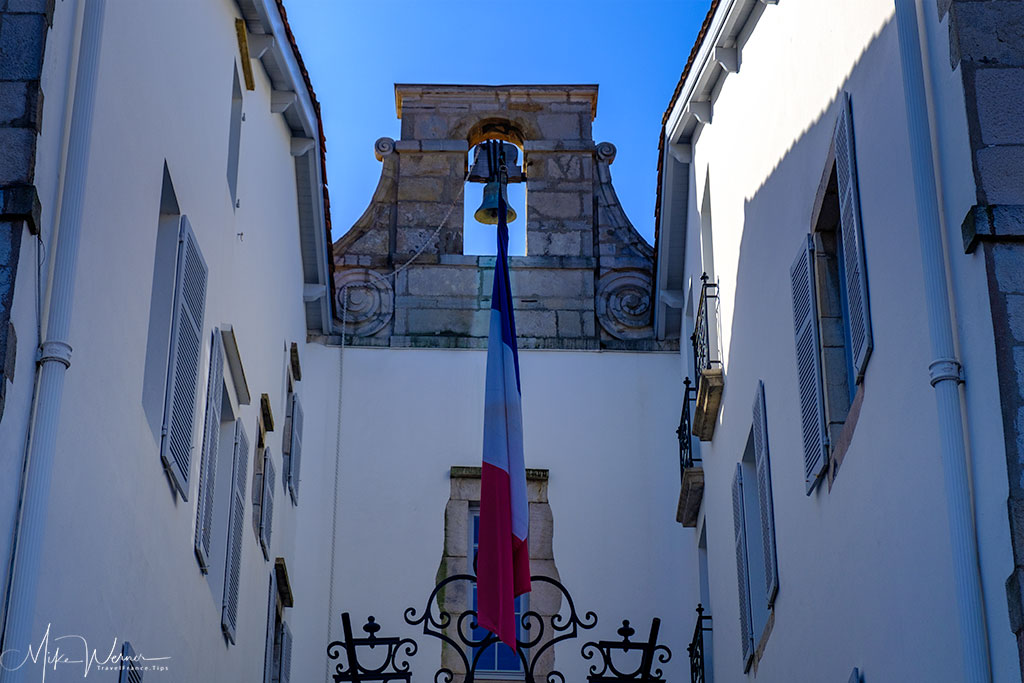 Flag and bell at the St-Jean-de-Luz City Hall