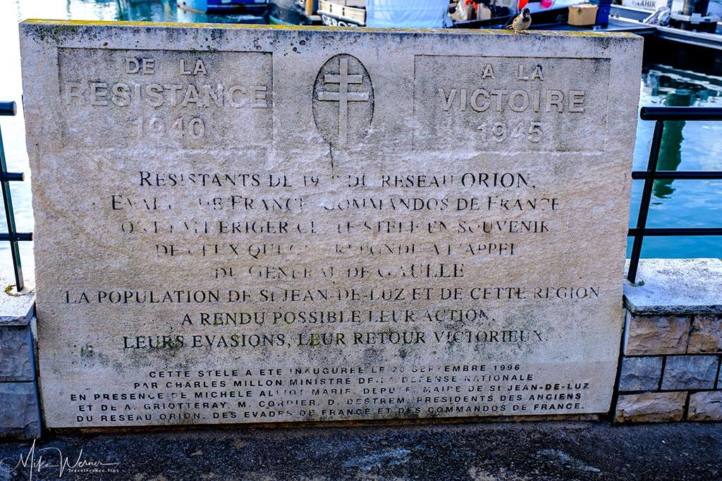 WWII memorial sign at the Saint-Jean-de-Luz harbour