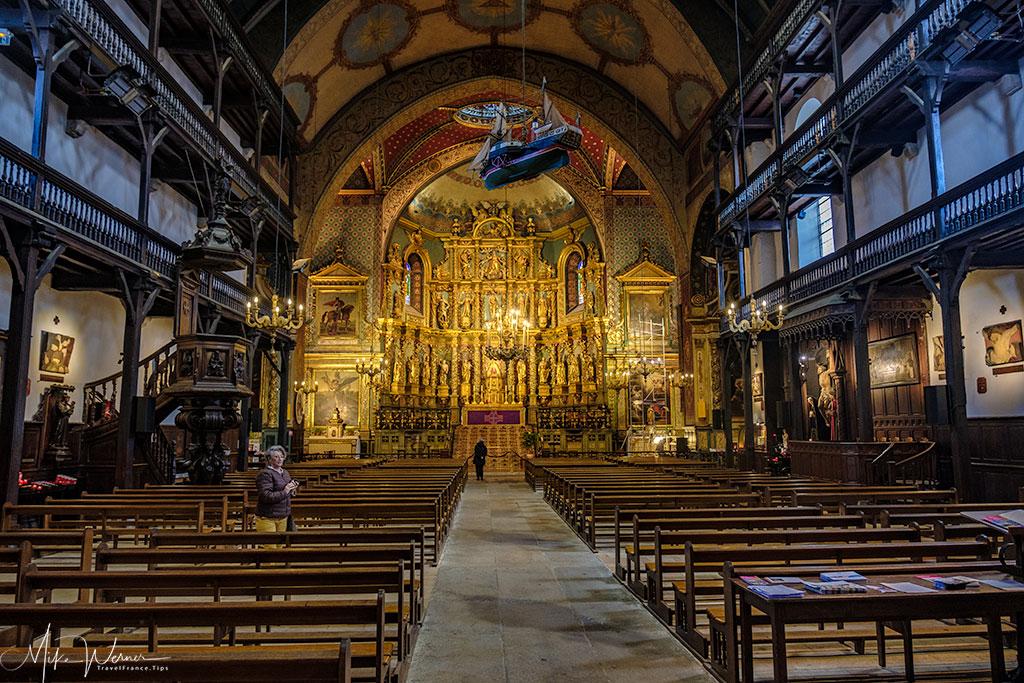 Inside the Saint-Jean-Baptiste church in Saint-Jean-de-Luz