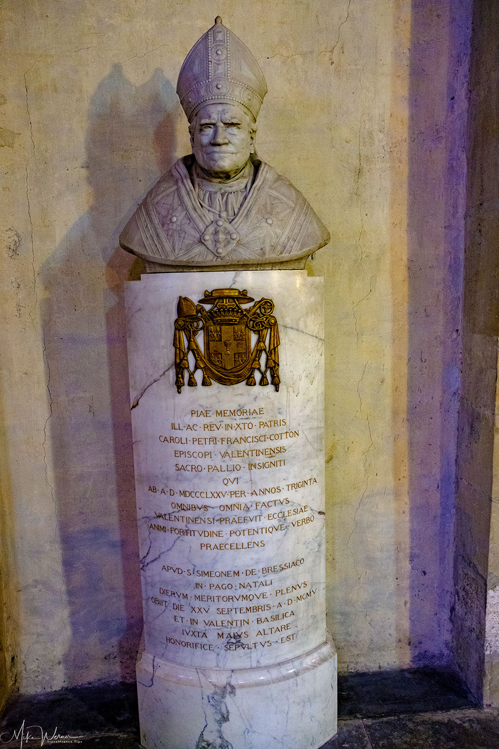Statue in memory of Bishop Charles-Pierre-Francois Cotton in the Cathedral of Valence