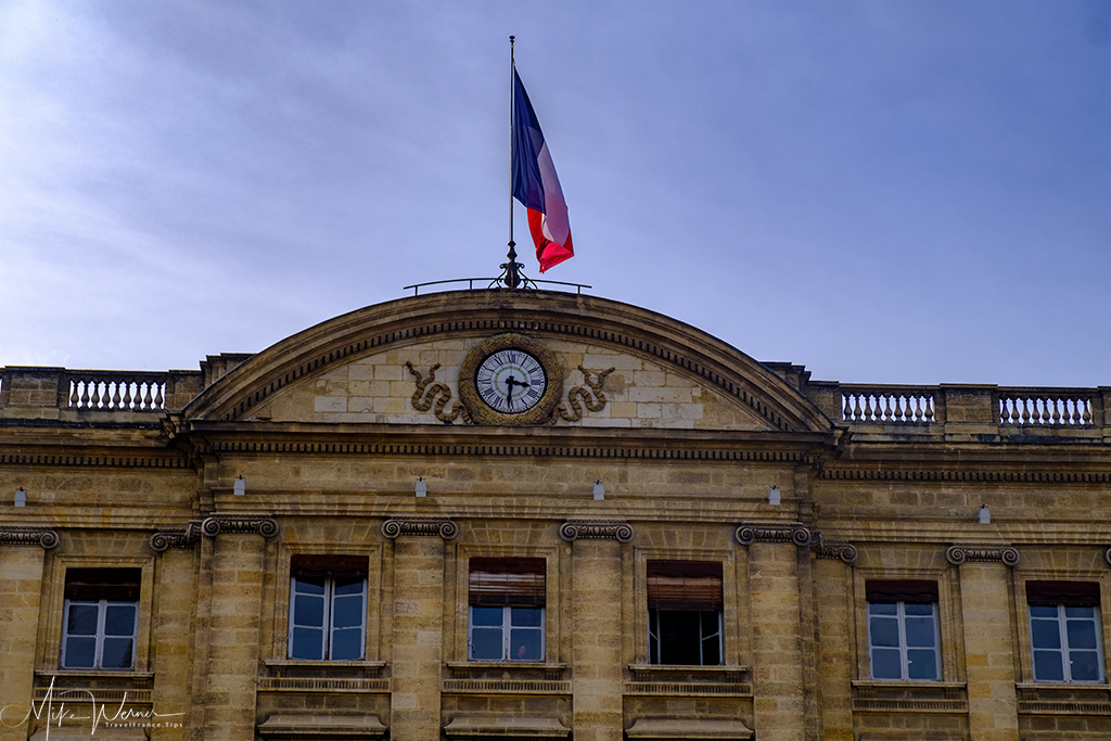 The clock in the main facade of the Bordeaux City Hall