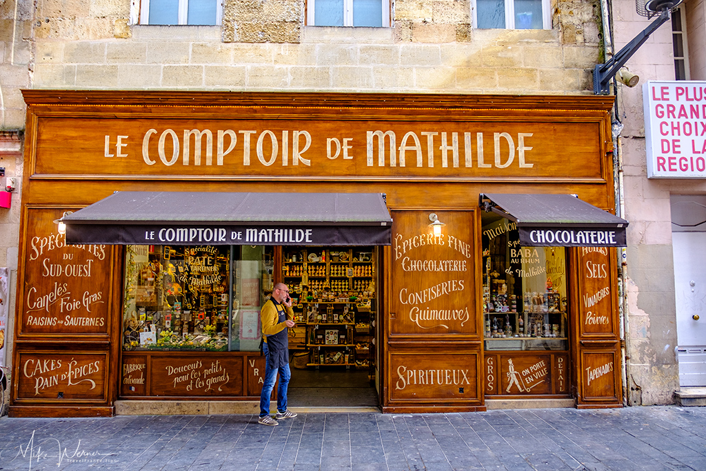 Chocolates and other specialities in a shop in Bordeaux