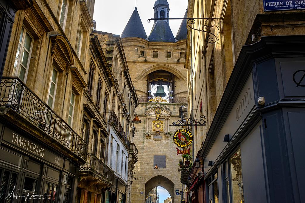 View from the city side of the Porte Saint-Eloy/Grosse Cloche de Bordeaux in Bordeaux