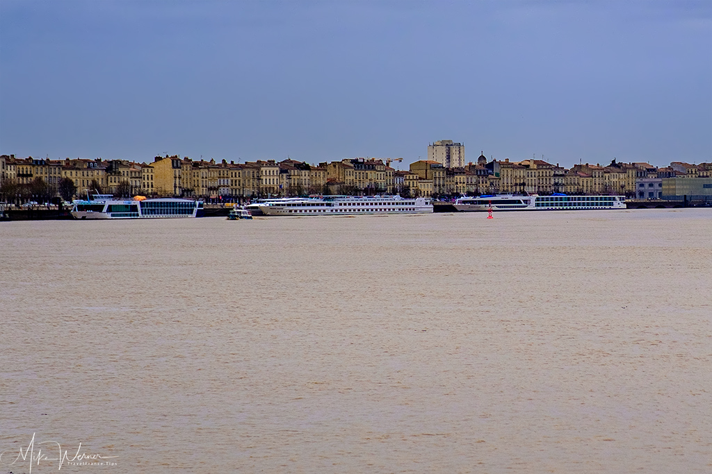 River cruise ships on the Garonne river in Bordeaux