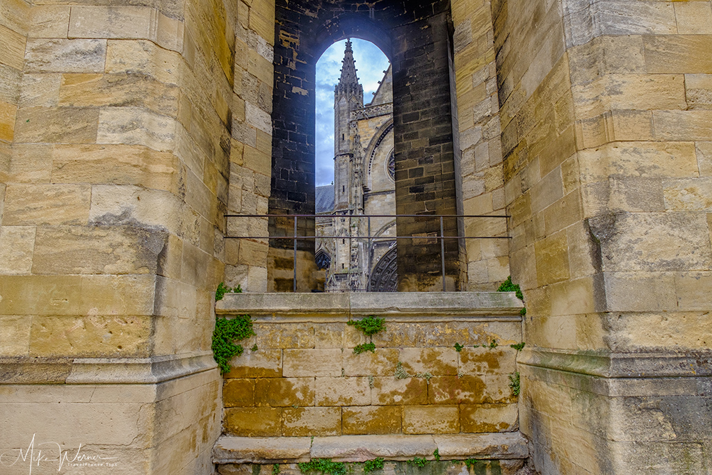 Looking at the Basilica-of-St-Michael through the bell tower