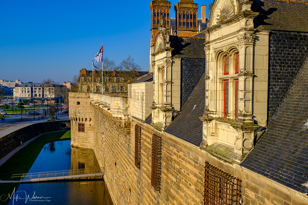 The moat and the city view from the Nantes castle walls