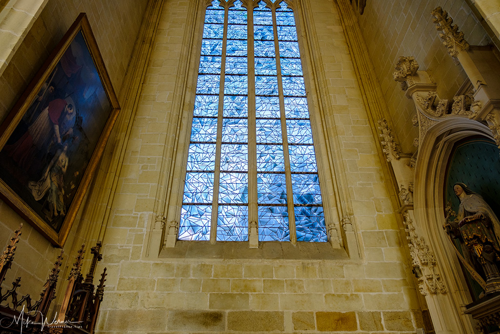 Blue stained glass window in the Nantes cathedral