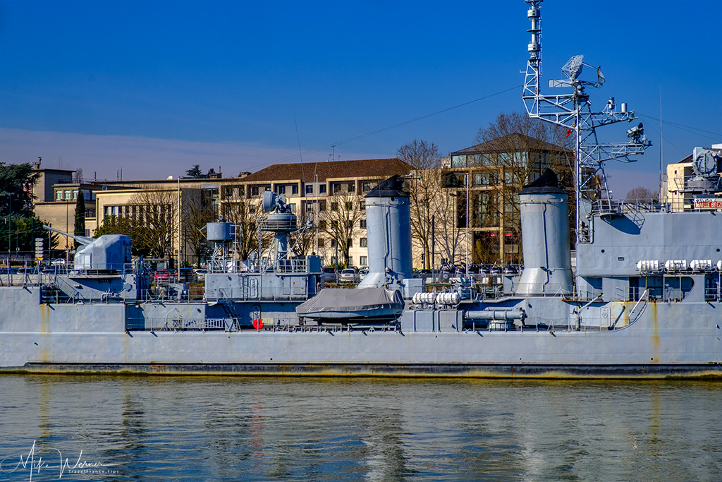 Part of the French destroyer Maille-Breze in the Loire river in Nantes