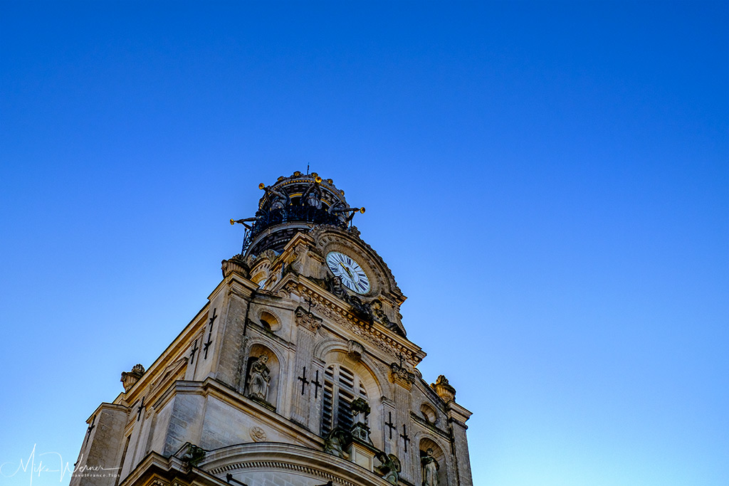 The top of the belltower of the Sainte-Croix church in Nantes