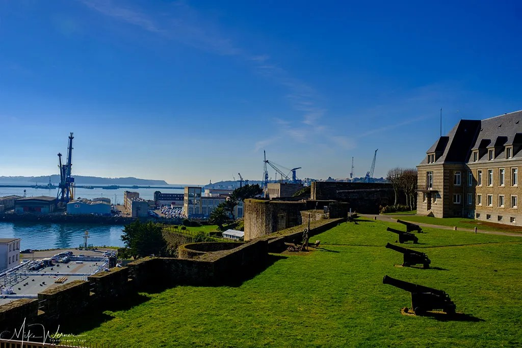 Old fashion cannons protect the French Navy Prefecture base inside the Brest Castle/Fortress in Brittany