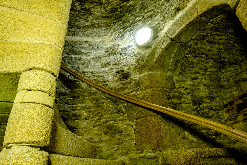 Steep stairs inside the Brest Castle/Fortress in Brittany