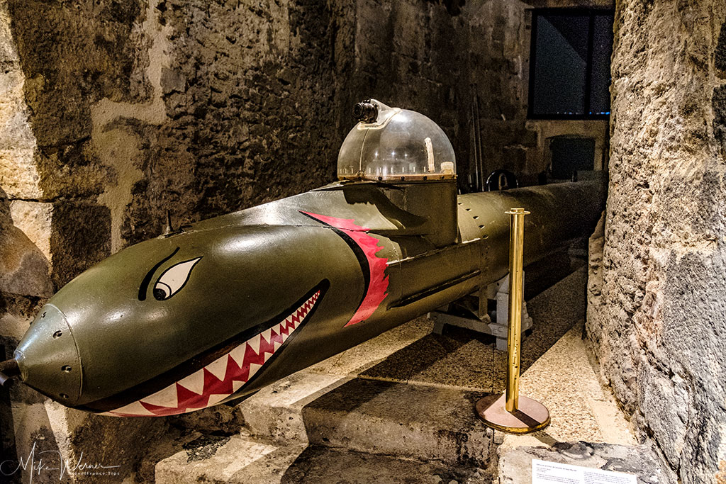 Mini submarine at the French Navy National Museum inside the Brest castle in Brittany