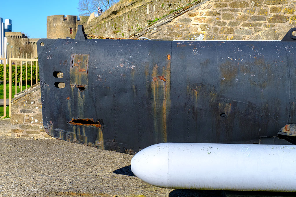 Front part and torpedo of a German WWII midget submarine (Seehund) as seen at the French Navy National Museum in the Brest Castle in Brittany