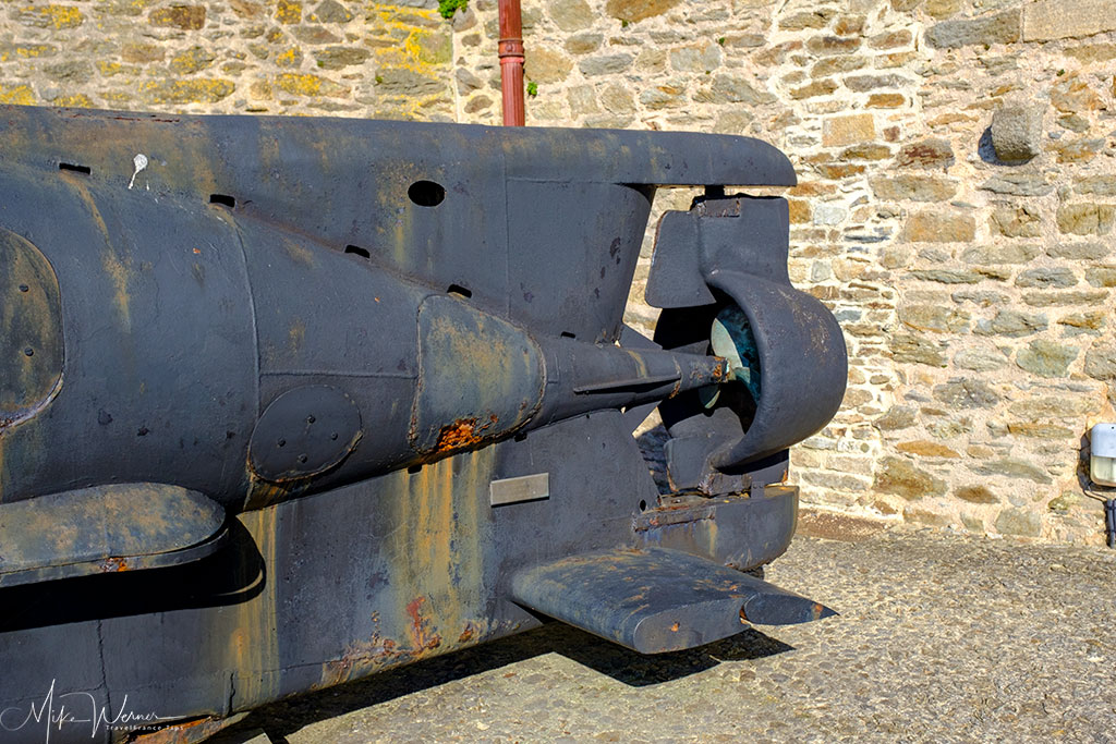 Propulsion part of a German WWII midget submarine (Seehund) as seen at the French Navy National Museum in the Brest Castle in Brittany