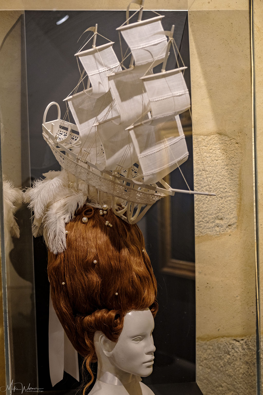 A wig in the shape of a sailship as shown in the French Navy National Museum inside the Brest Castle