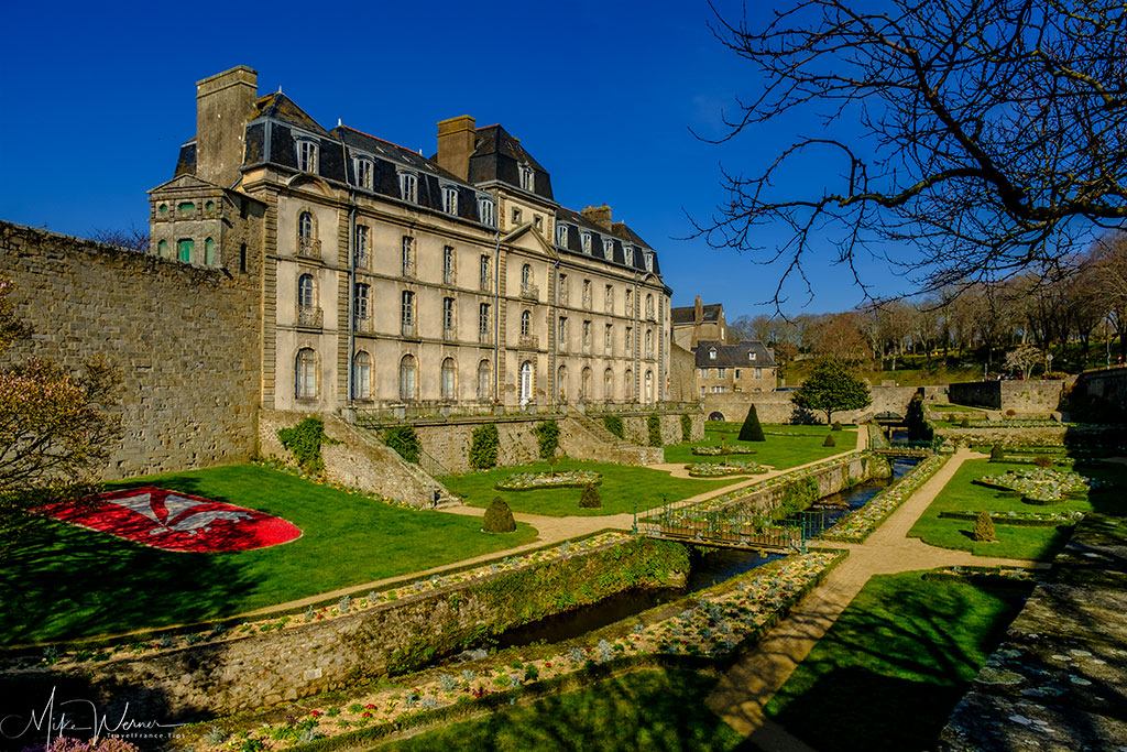 Chateau l'Hermine on the ramparts and the public gardens of Vannes in Brittany