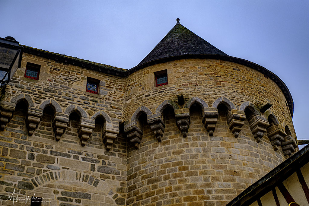 The prison tower (next to the prison gate) alongside the ramparts of Vannes in Brittany
