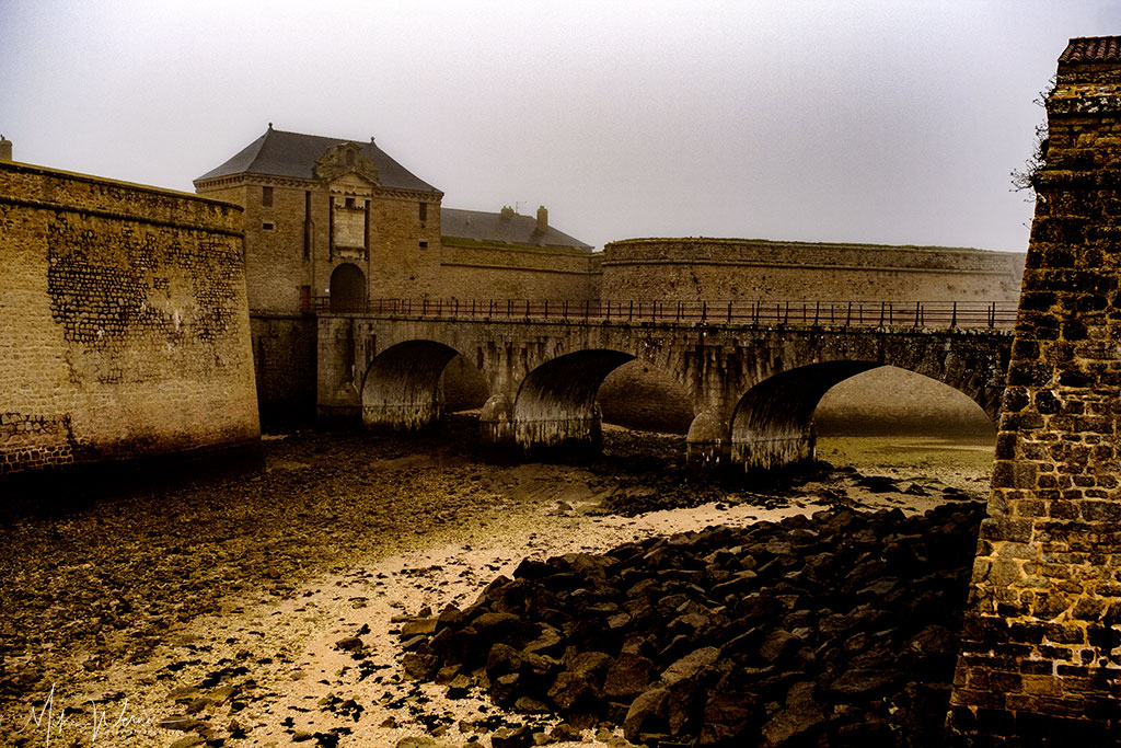 Large moat at the citadel of Port-Louis in Brittany