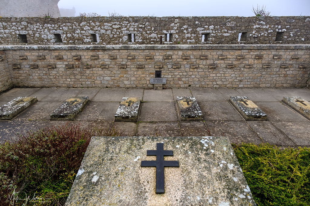 Tombs of the French resistance fighters executed during WWII outside the citadel of Port-Louis, Brittany
