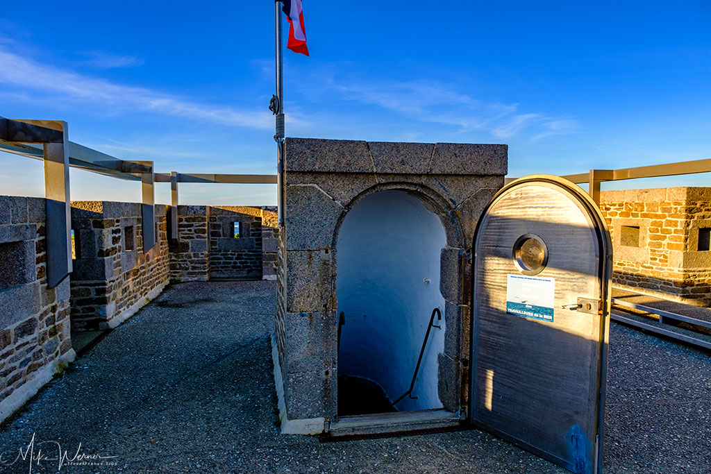 Entrance to the roof on top of the 'Memorial aux Marins Morts pour la France' (Memorial for the sailors who died for France) Cenotaph building at Pointe Saint-Mathieu, Brittany