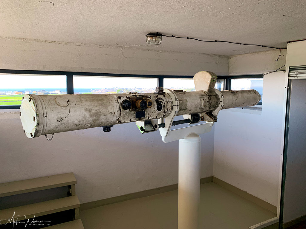 Enormous binoculars at the WWII German bunker at the 39-45 Memories Museum at Pointe Saint-Mathieu in Brittany