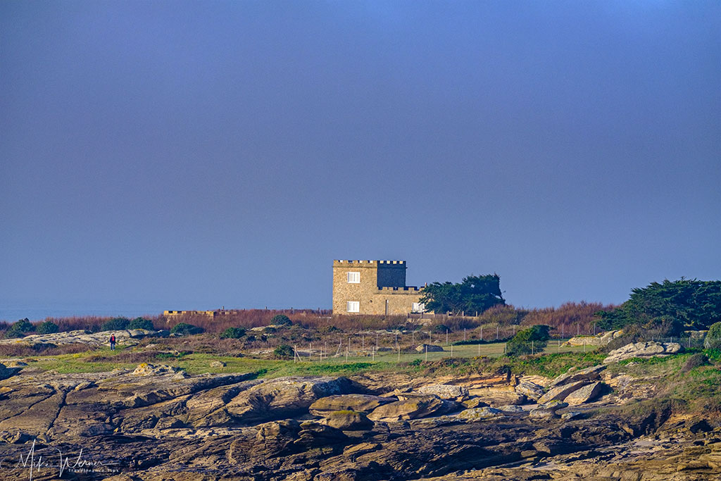 House in form of a castle along the coast of Quiberon, Brittany