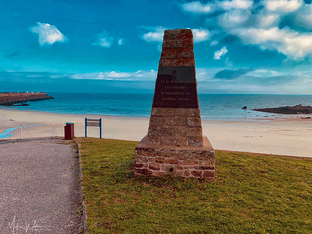 Plage du Porigo beach and a monument from a war in 1795 in Quiberon, Brittany