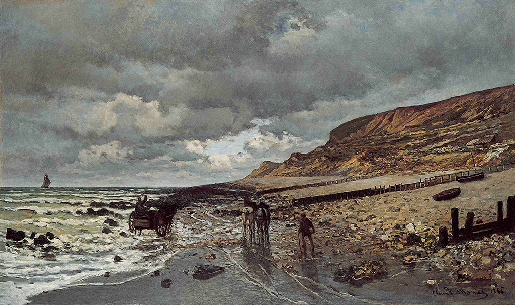 1864 Claude Monet-Horses at the Heve Point