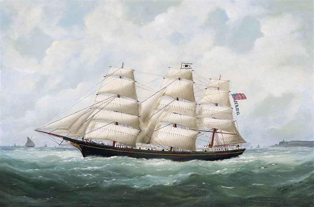 1884 Edouard Adam - The American Ship Olive S Southard of San Francisco in French Waters off Le Havre