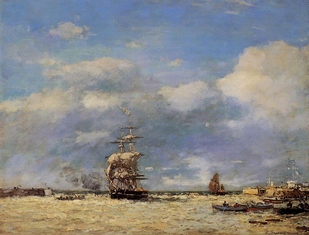 1864 Eugene Boudin - Entering the Port of Le Havre